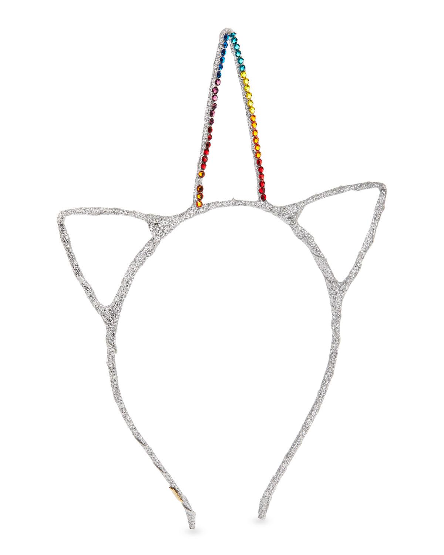 Bari Lynn Accessories GIRLS' GLITTER CAT EARS & CRYSTAL UNICORN HORN HEADBAND