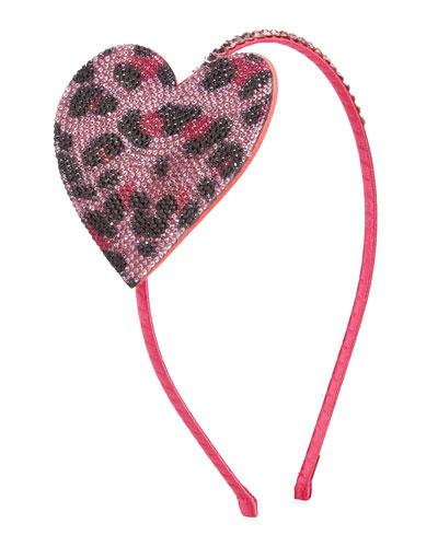 Girl's Crystal Leopard Heart Headband