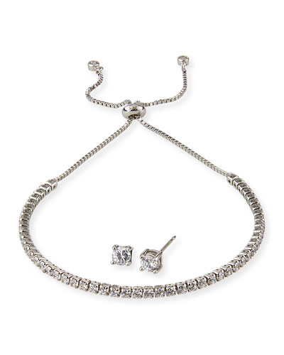 Girl's Sterling Silver Cubic Zirconia Adjustable Bracelet w/ Matching Stud Earrings Set