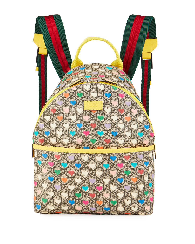 Gucci Backpacks KID'S GG SUPREME HEARTS PRINT BACKPACK