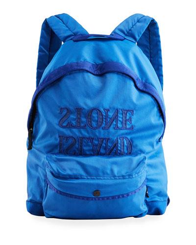Boy's Nylon Backpack w/ Backwards Logo Applied Letters