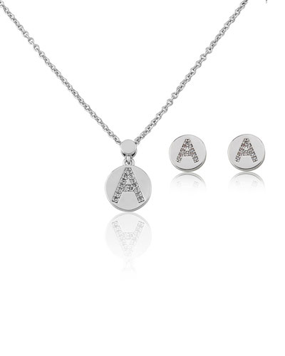Girl's Rhodium-Plated Initial Necklace w/ Matching Stud Earrings Set