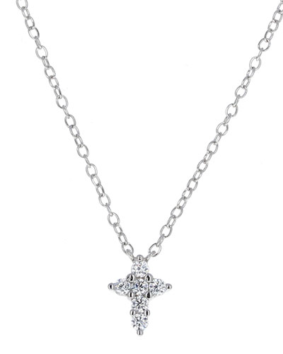 Girl's Sterling CZ Cross Pendant Necklace