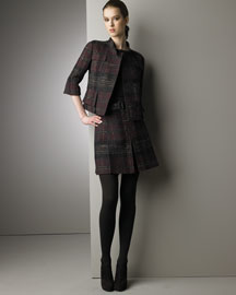 Akris Punto Tweed Jacket & Miniskirt -  Akris Punto -  Bergdorf Goodman :  wool jacket fashion akris punto