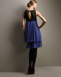 Temperley London Crocheted Silk Dress- Color Blocking- Bergdorf Goodman