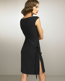 Valentino Bow Dress -  Apparel -  Bergdorf Goodman :  wool dress asymmetric v-neckline satin