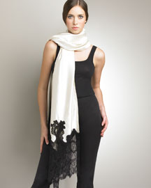 Valentino            Silk and Lace Shawl, Ivory -   		Accessories - 	Bergdorf Goodman :  shawl lace valentino