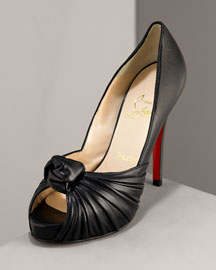 Christian Louboutin Knotted Open-Toe Sandal -  Christian Louboutin -  Bergdorf Goodman  :  sandal black leather pump