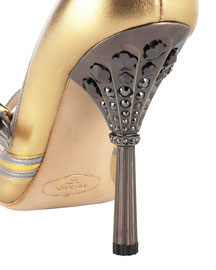 Prada Crystal-Heeled Metallic Pump -  Heel Detail -  Bergdorf Goodman