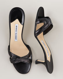 Manolo Blahnik Fienomu Low-Heel Slide -  Spring Collection -  Bergdorf Goodman