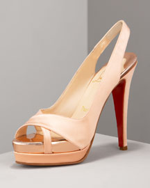 Christian Louboutin Very Croise Platform Slingback -  Shoes & Handbags -  Bergdorf Goodman :  very croise heels evening satin