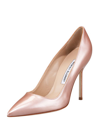 Point-Toe Metallic Patent Pump