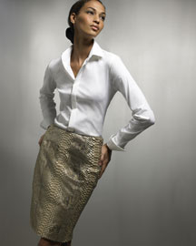 Ralph Lauren Black Label Rachel Shirt & Vicki Python Skirt -  Black Label -  Bergdorf Goodman :  fashion trend retro incircle