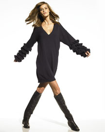 Stella McCartney Rhumba-Sleeve Sweater Dress, Ink- Ready-To-Wear- Bergdorf Goodman
