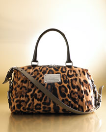 Leopard-print haircalf. Silver-tone hardware. Moro (dark brown) patent leather top handles with square rings. Shoulder strap. Double-zip top. Knife pleats and logo plate on front. Made in Italy. :  handbag satchel bag