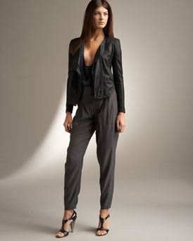 Helmut Lang Paper Leather Jacket & Draped Twill Pants :  glamour sexy womens jackets