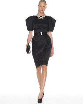 Michael Kors Belted Origami Dress  :  belted dress michael kors origami patent leather