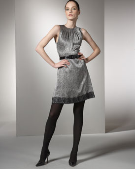 Andrew Gn - Shop by Designer  -  Bergdorf Goodman :  tweed-print dress box-pleated sleeveless