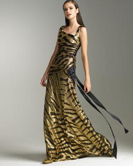 Marchesa Tiger Print Gown
