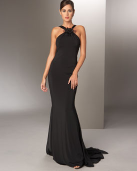 Vera Wang Halter Flower Gown :  black dress style womens dresses