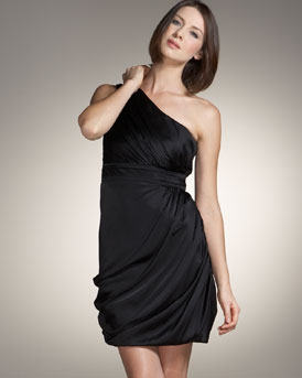 Shoshanna One Shoulder Silk Dress :  black dress womens dresses little black dress
