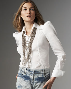 Robert Rodriguez Peaked-Shoulder Blouse :  robert rodriguez button down bergdorf goodman collar