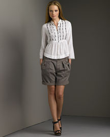 Chloe-Dot Blouse & Bermuda Shorts -- Bergdorf Goodman Online :  blouse bermuda shorts bergdorf goodman italy
