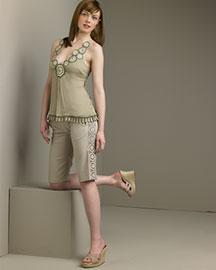 Catherine Malandrino-Silk Top & Bermuda Shorts -- Bergdorf Goodman Online :  catherine malandrino bermuda shorts bergdorf goodman shorts