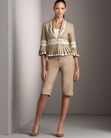 Robert Rodriguez - Crocheted Jacket & Cropped Pants & Button-down Tank -- Bergdorf Goodman Online :  pants bergdorfgoodman bergdorf goodman tank