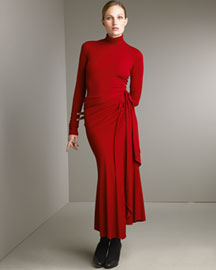 Bergdorf Goodman Online  - Donna Karan Collection - Turtleneck & Wrap Skirt :  fashion wine red donna karan