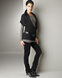 Vince -  Oversized Vest & Ribbed Top -  Bergdorf Goodman from bergdorfgoodman.com