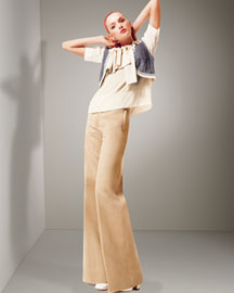 Chloe Bow-Front Blouse & High-Waist Pants -  Pants -  Bergdorf Goodman :  high waist ivory khaki daily