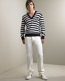 Dolce & Gabbana -  Striped Sweater & Studded Jeans -  Bergdorf Goodman