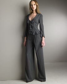 Armani Collezioni Stretch Wool Ruffled Jacket & Wide-Leg Pants -  Pants -  Bergdorf Goodman