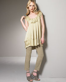 Donna Karan Collection Caftan Top & Skinny Sailor Pants -  Pants -  Bergdorf Goodman :  skinny pale gold sailor karan