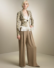 Giorgio Armani Leopard-Print Suede Jacket & Cummerbund Pants- Pants- Bergdorf Goodman :  pants print polyester gold