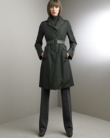 Akris Silk Trench & Side-Zip Pants -  Akris -  Bergdorf Goodman :  akris leather trim moss trench coat