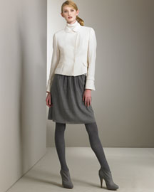 Akris Punto Snap Jacket & Gathered Skirt -  Akris Punto -  Bergdorf Goodman :  akris peter pan collar mock-neck gathered