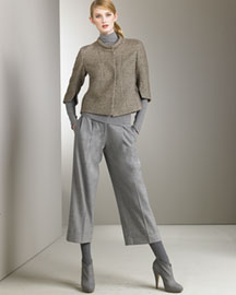 Akris Punto Unlined Jacket & Ankle Trousers -  Akris Punto -  Bergdorf Goodman :  wool ankle rolled neckline mock neck