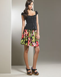 Nanette Lepore            Ruched Corset Top & Tulip-Print Skirt -   Bergdorf Goodman