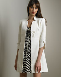 Milly            Button Day Coat & Dot-Print Dress