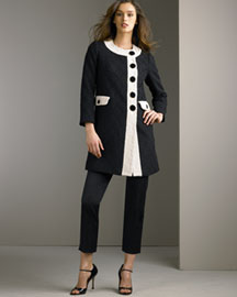Milly Contrast Coat & Cigarette Pants -  Milly -  Bergdorf Goodman