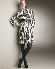 Yves Saint Laurent Waterproof Leopard-Print Coat & Wide Belt -  Apparel -  Bergdorf Goodman :  waterproof coat leopard cotton