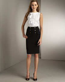 Diane von Furstenberg            Ruffled Top & Knit Skirt  :  women womens fashion designer fashion ruffle