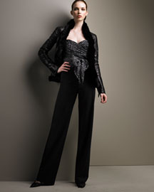 Armani Collezioni Fur-Trim Jacket & Wide-Leg Pants  :  black lambskin leopard sweetheart neckline