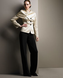 Armani Collezioni Silk Jacket & Wide-Leg Pants -  View All -  Bergdorf Goodman :  black armani collezioni italy asymmetric front