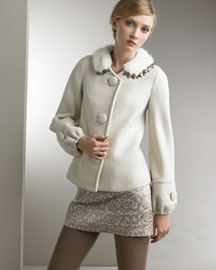 Rebecca Taylor Faux-Fur Jacket & Cami Minidress -  Rebecca Taylor -  Bergdorf Goodman :  wool dress minidress faux-fur trim