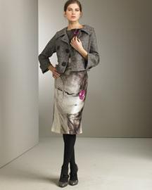 Alberta Ferretti Tweed Jacket & Floral Dress- Fall- Bergdorf Goodman