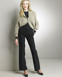 Pringle Cropped Cardigan & Flannel Pants -  Cozy Knits -  Bergdorf Goodman