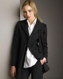 Yohji Yamamoto Five-Button Jacket & Unbalanced Blouse- Yohji Yamamoto- Bergdorf Goodman